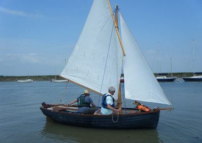 South coast Lugger again setting off from Bradwell on sea in Essex.